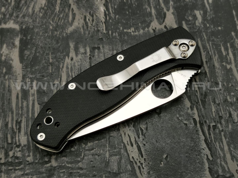 Нож Spyderco Tenacious Serrated C122GS, сталь 8Cr13MoV satin, рукоять G10 black