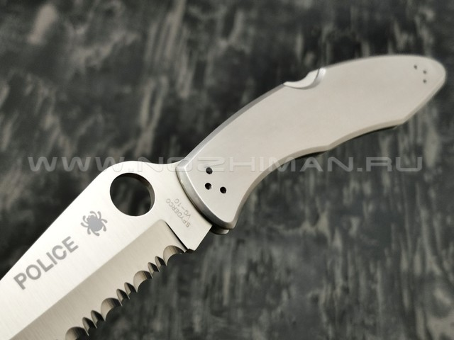 Нож Spyderco Police Serrated C07S, сталь VG-10 satin, рукоять Steel 410SS