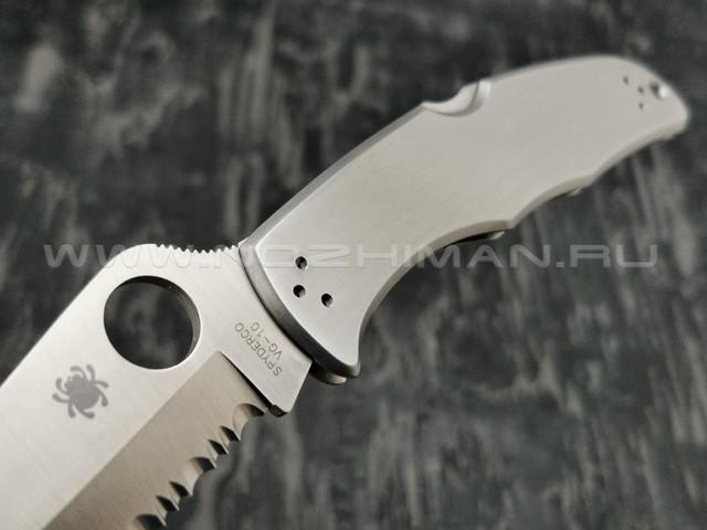 Нож Spyderco Endura 4 Stainless Serrated C10S, сталь VG-10 satin, рукоять Stainless Steel