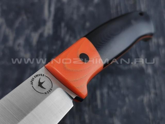 Apus Knives нож Maverick сталь M390, рукоять G10 black & orange