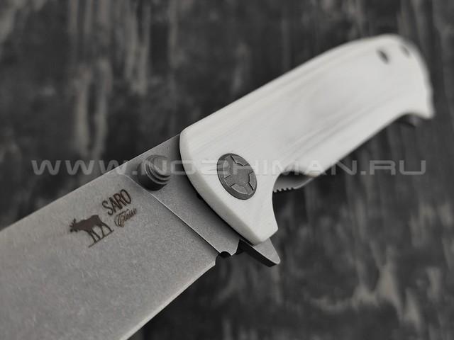 Нож SARO Чиж Next белый сталь K110, рукоять G10