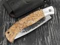 """Нож """"Якутский"""" складной №12 сталь Х12МФ, кованый дол, рукоять стаб. карельская берёза (Стальные Бивни)"""