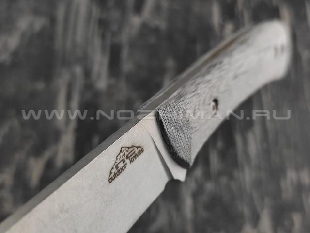N.C.Custom нож Camper сталь X105 stonewash, рукоять микарта, ножны кожа