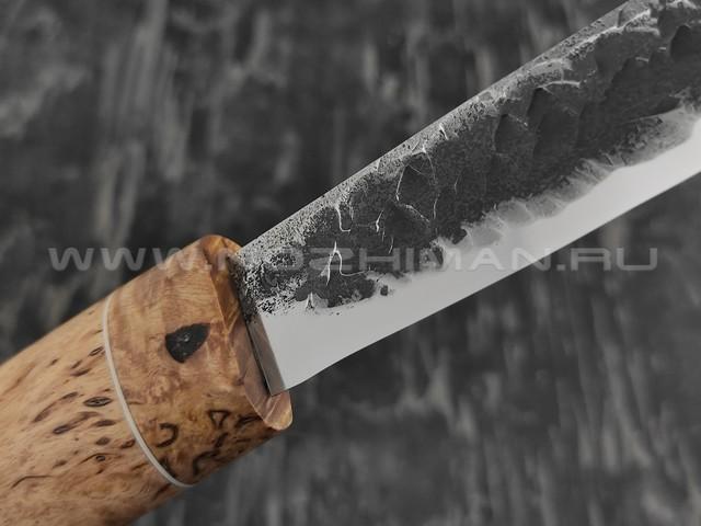 """Нож """"Якутский-СКД"""" средний, сталь Х12МФ, кованый дол, рукоять карельская береза (Стальные Бивни)"""