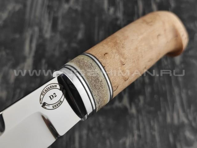 """Нож """"Финский 4-ФД"""" сталь D2, рукоять карельская береза и рог лося (Стальные Бивни)"""