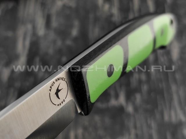 Apus Knives нож Maverick сталь N690, рукоять G10 green, микарта