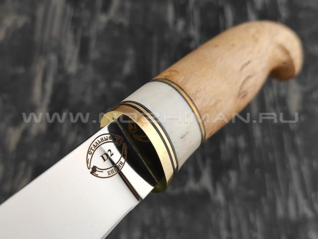 """Нож """"Финский 9-СО"""" сталь D2, рукоять карельская береза, рог лося (Стальные Бивни)"""