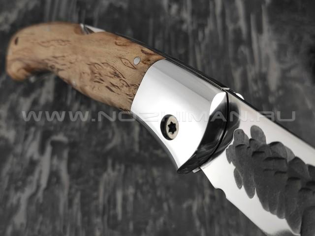 """Нож складной """"Якутский-СКЛ"""" сталь Х12МФ линза, кованый дол, рукоять стаб. карельская берёза (Стальные Бивни)"""