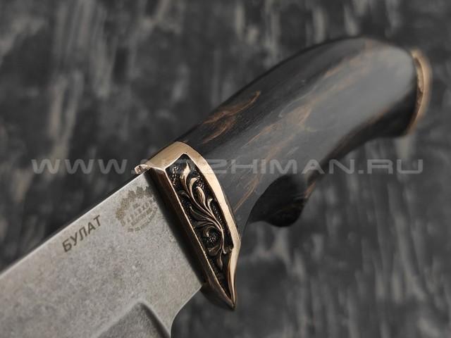 """Нож """"Волк"""" сталь булат, рукоять березовый сувель  (Тов. Завьялова)"""