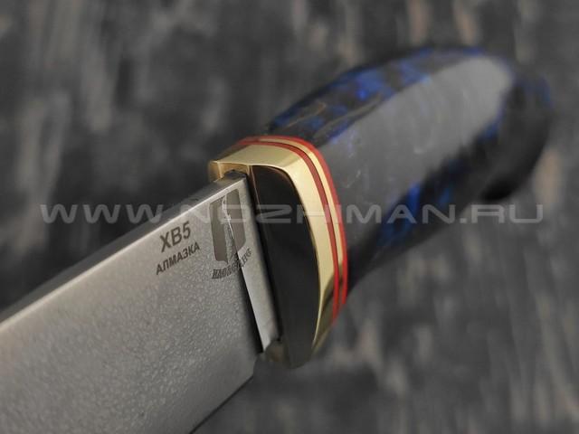 """Нож """"Ладья"""" сталь ХВ5, рукоять карельская береза, латунь (Наследие)"""