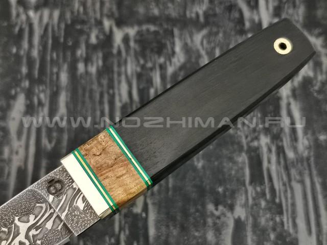 Нож Клык 011Д362 дамасская сталь, рукоять дерево граб (Федотов А.В.)