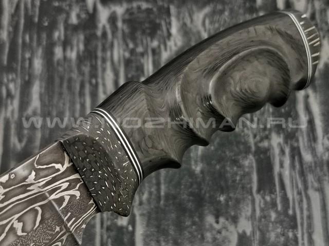 Нож Клык 011Д413 дамасская сталь, рукоять хаотичный карбон, дамаск (Федотов А.В.)