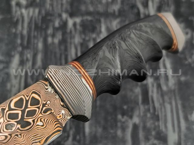 Нож Фартовый 102М11 дамасская сталь с мокумэ-ганэ, рукоять хаотичный карбон, мокумэ-ганэ (Федотов А.В.)