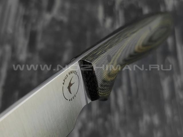 Apus Knives Wilson сталь N690, рукоять микарта olive green
