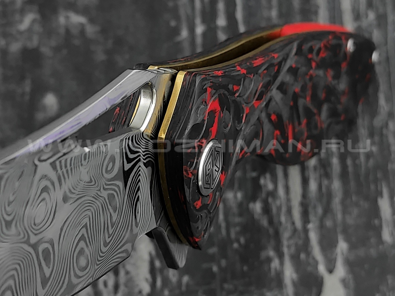 Нож Rike Knife Hummingbird Plus-R/CF RK11532-1 сталь damasteel, рукоять carbon
