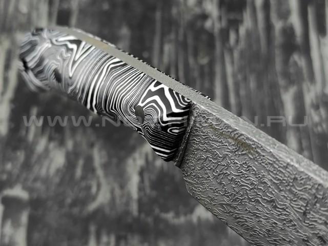 """Волчий Век нож """"Mark-I"""" сталь M390 WA дамаскаж, рукоять композит, карбоновые пины"""