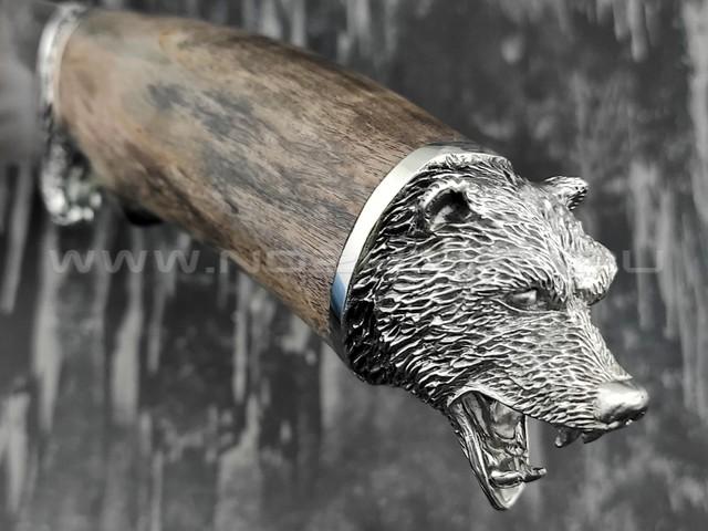 """Кузница Коваль нож """"Бобер"""" сталь N690, рукоять стаб. карельская береза"""