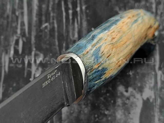 """Кузница Коваль нож """"Лесник"""" булатная сталь, рукоять стаб. карельская береза"""