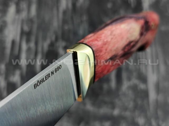 """Кузница Коваль нож """"Ладья-2"""" сталь N690, рукоять стаб. карельская береза"""