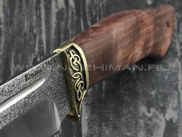 "Кузница Коваль нож ""Омуль"" сталь 110Х18, рукоять стаб. карельская береза"