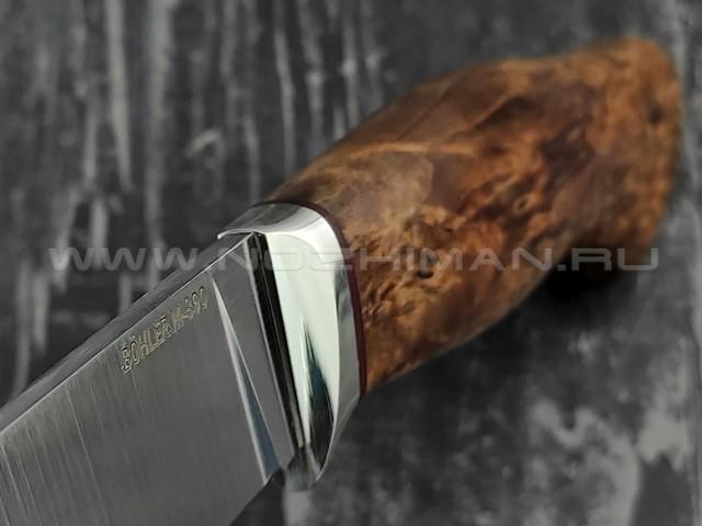 """Кузница Коваль нож """"Ладья"""" сталь M390, рукоять стаб. карельская береза"""