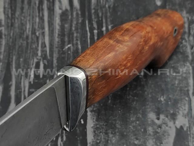 """Кузница Коваль нож """"Ладья"""" дамасская сталь, рукоять стаб. карельская береза"""