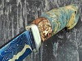 "Кузница Коваль нож ""Ладья"" ламинат K340, рукоять стаб. кап клёна, рог лося с пирографией"