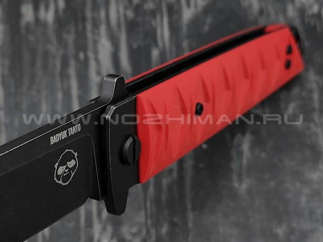 Нож Brutalica Badyuk Tanto, сталь D2 blackwash, рукоять G10 red