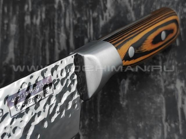 QXF шеф нож R-4128 сталь 40Cr14, рукоять дерево