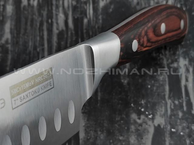 QXF Knight нож Santoku R-5257 сталь 50Cr15MoV, рукоять дерево