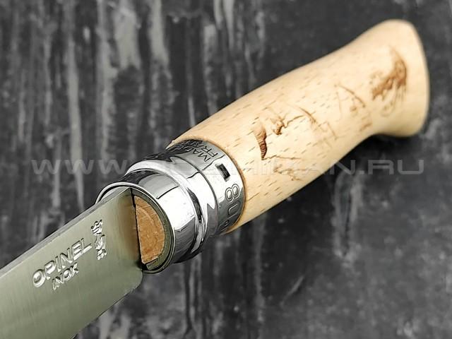 Нож Opinel Engraved №8 002186 Hiking сталь Sandvik 12C27, рукоять бук