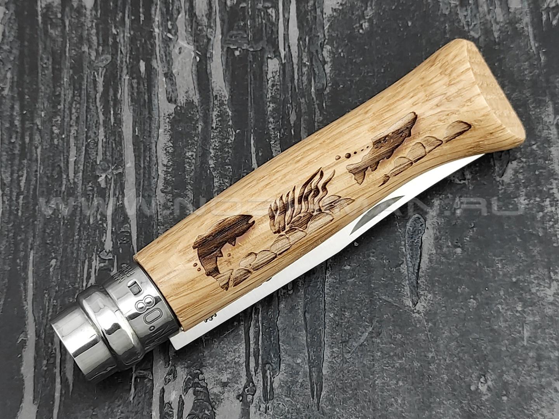 Нож Opinel Engraved №8 002334 Animalia Fish 2019 сталь Sandvik 12C27, рукоять дуб