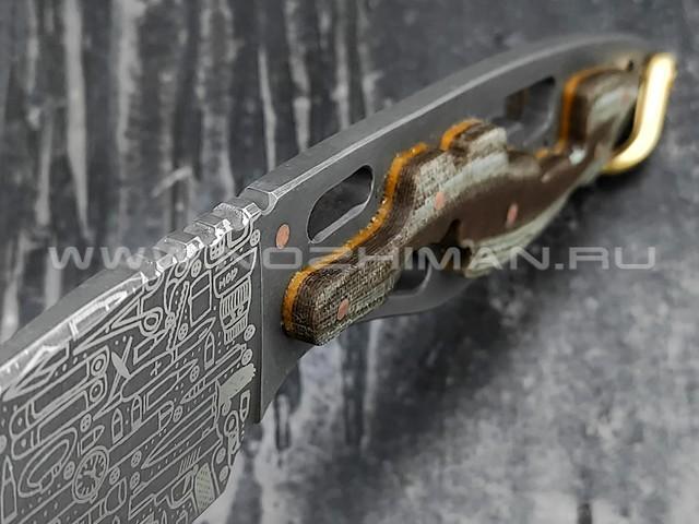 """1-й Цех нож """"Пис Брат XL"""" сталь 440С, рукоять сталь и текстолит"""