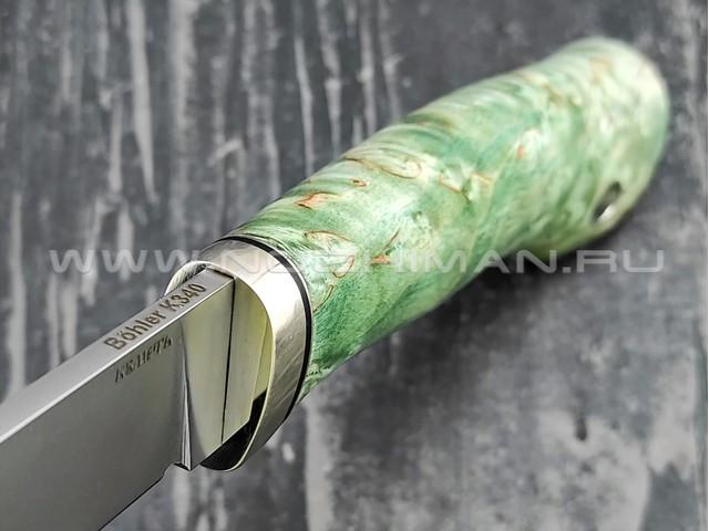 Кметь нож Рыбацкий сталь K340, рукоять карельская берёза