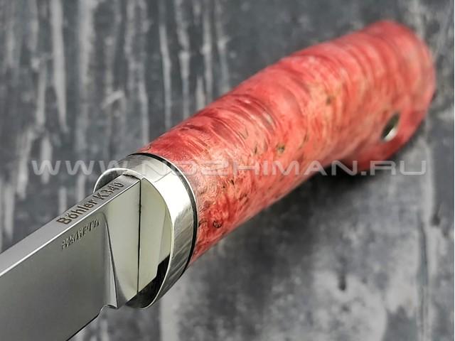 Кметь нож Рыбацкий сталь K340, рукоять карельская берёза (красный)