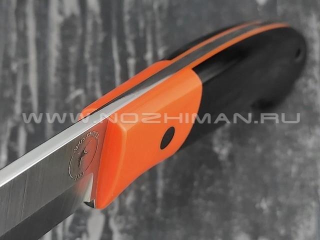Apus Knives нож Maverick сталь K110, рукоять G10 black/orange