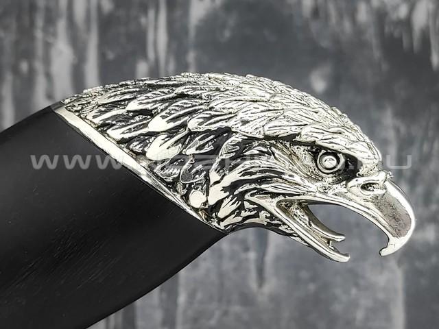 """Нож """"Орел"""" сталь K340, рукоять дерево граб, мельхиор (Товарищество Завьялова)"""