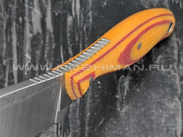 "РВС нож ""Кастор 3.0"" сталь N690, рукоять микарта red & orange"