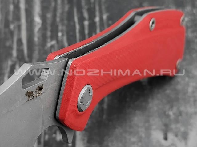 Saro нож Скорпион EVO Bowie сталь K110, рукоять G10 red