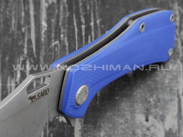 Saro нож Скорпион EVO Bowie сталь K110, рукоять G10 blue
