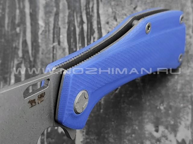 Saro нож Скорпион EVO Wharncliffe сталь K110, рукоять G10 blue