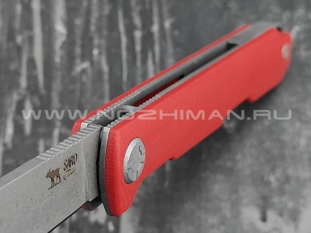 Saro нож Авиационный Single сталь K110, рукоять G10 red