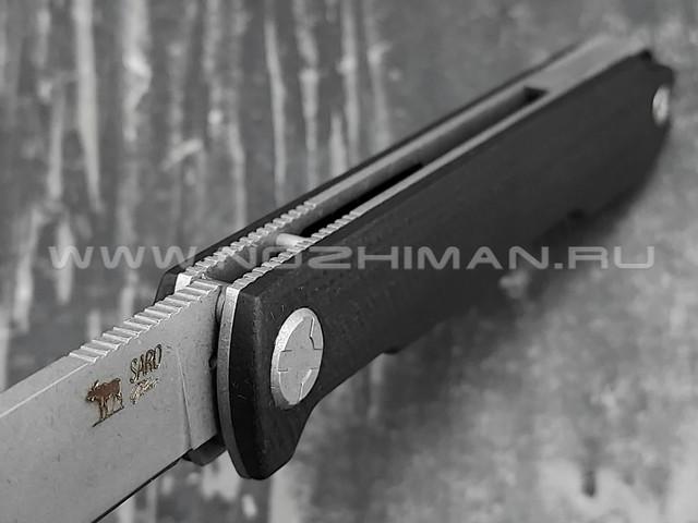 Saro нож Авиационный Single сталь K110, рукоять G10 black