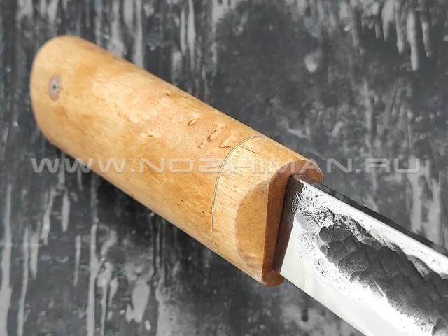 """Нож """"Якутский шейный-КД"""" сталь Х12МФ, рукоять стаб. карельская береза (Стальные Бивни)"""