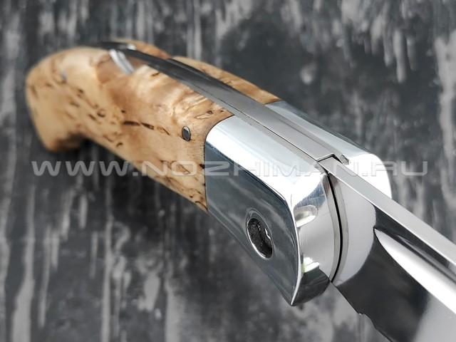 """Нож складной """"Якутский-СФЛ"""" сталь Х12МФ, рукоять стаб. карельская береза (Стальные Бивни)"""