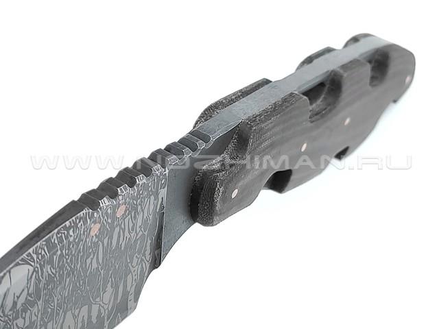 """1-й Цех нож """"Резань"""" 5мм с узором сталь K110, рукоять микарта"""