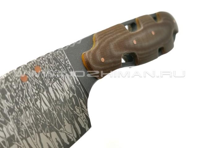"""1-й Цех нож """"РЕзань"""" сталь 440C рукоять микарта, ножны кожа"""