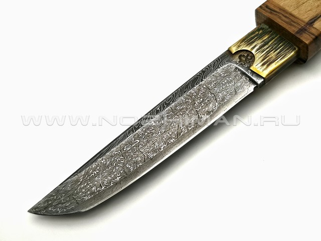 "Корзун Александр нож ""Танто"" сталь мозаичный дамаск, рукоять и ножны лунный эбен"