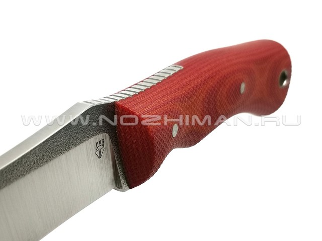 "РВС нож ""Зверобой"" сталь N690, рукоять микарта red & orange"