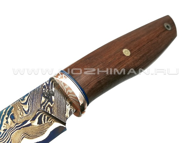 "Нож ""НЛВ16"" ламинат 9ХС, рукоять палисандр, мокумэ-гане (Кузница Васильева)"